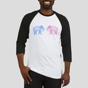 Cute Pink and Blue Elephants Baseball Jersey
