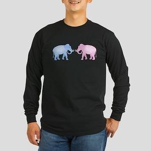 Cute Pink and Blue Elephants Long Sleeve T-Shirt