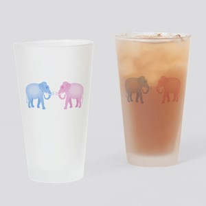 Cute Pink and Blue Elephants Drinking Glass
