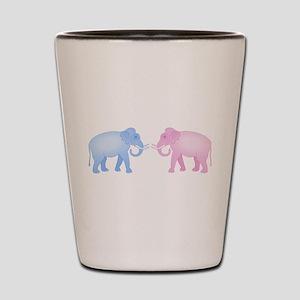 Cute Pink and Blue Elephants Shot Glass