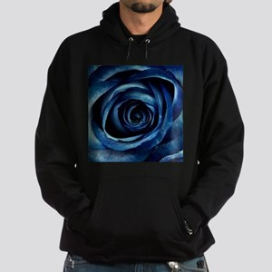 Decorative Blue Rose Bloom Hoodie (dark)