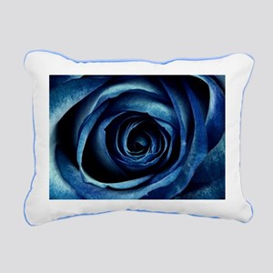 Decorative Blue Rose Blo Rectangular Canvas Pillow