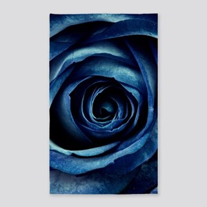Decorative Blue Rose Bloom Area Rug