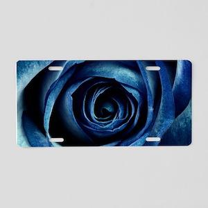 Decorative Blue Rose Bloom Aluminum License Plate