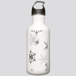 Snowflakes in Black an Stainless Water Bottle 1.0L