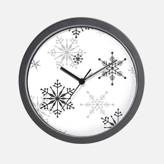 Snowflakes in Black and White Wall Clock