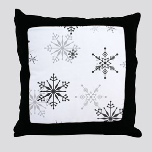 Snowflakes in Black and White Throw Pillow