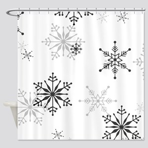 Snowflakes in Black and White Shower Curtain