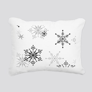 Snowflakes in Black and Rectangular Canvas Pillow