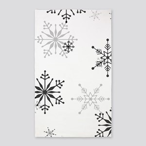 Snowflakes in Black and White Area Rug