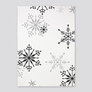 Snowflakes in Black and White 5'x7'Area Rug