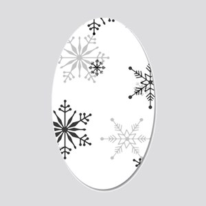 Snowflakes in Black and Whit 20x12 Oval Wall Decal