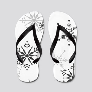 Snowflakes in Black and White Flip Flops