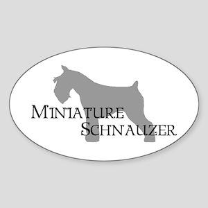 Mini Schnauzer Curly Text Oval Sticker