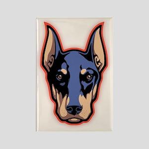 Doberman Face Rectangle Magnet