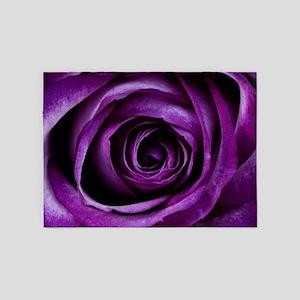 Purple Rose Flower 5'x7'Area Rug