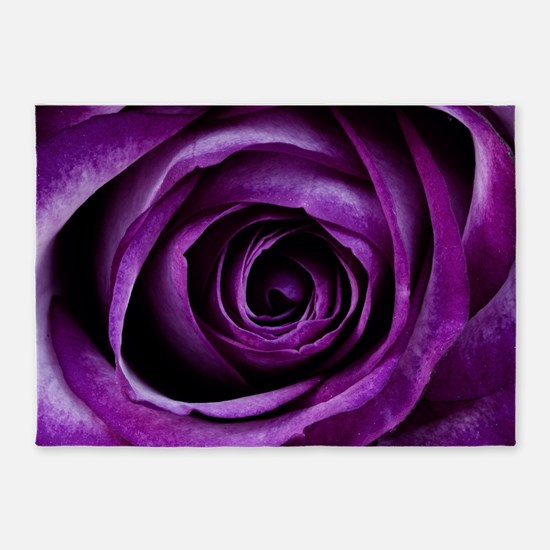 Purple Rose Flower 5'x7'Area Rug