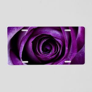 Purple Rose Flower Aluminum License Plate