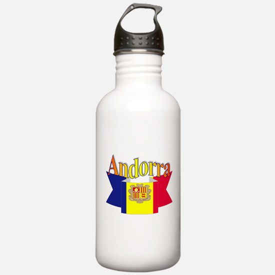 Andorra flag ribbon Sports Water Bottle