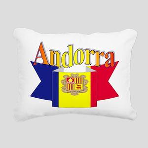 Andorra flag ribbon Rectangular Canvas Pillow