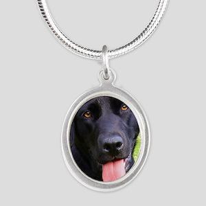 Black Lab Silver Oval Necklace