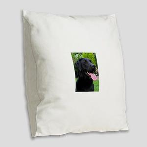 Black Lab Burlap Throw Pillow