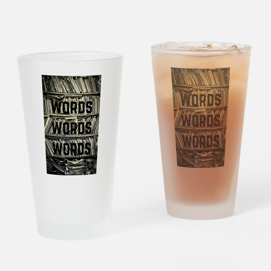 Words Words Words Drinking Glass