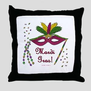 Mardi Gras Feather Beads Mask Throw Pillow