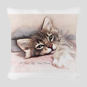 Kitten Nails Woven Throw Pillow