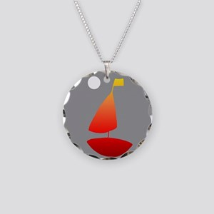 Sailboat Sailing Under the M Necklace Circle Charm