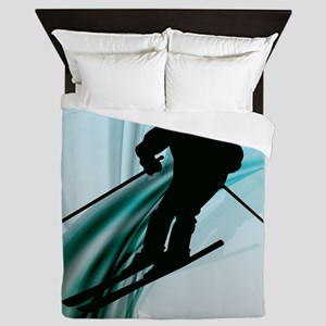 Downhill Skier on Icy Ribbons Queen Duvet
