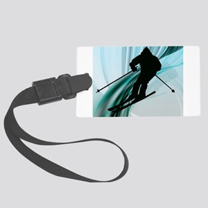 Downhill Skier on Icy Ribbons.jp Large Luggage Tag