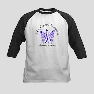 Colon Cancer Butterfly 6.1 Kids Baseball Jersey