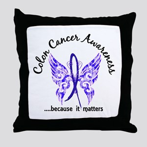 Colon Cancer Butterfly 6.1 Throw Pillow