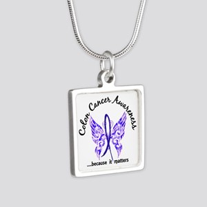 Colon Cancer Butterfly 6.1 Silver Square Necklace