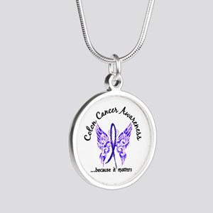 Colon Cancer Butterfly 6.1 Silver Round Necklace