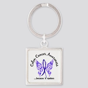 Colon Cancer Butterfly 6.1 Square Keychain