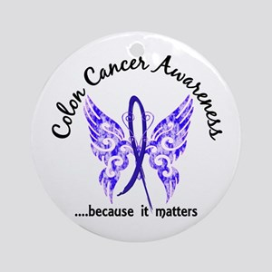 Colon Cancer Butterfly 6.1 Ornament (Round)