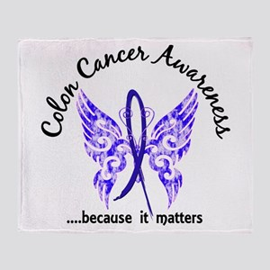 Colon Cancer Butterfly 6.1 Throw Blanket