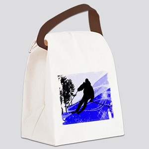 Downhill on the Ski Slope Edges.p Canvas Lunch Bag