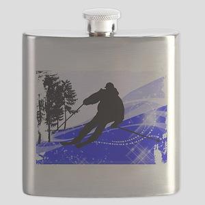 Downhill on the Ski Slope Edges Flask