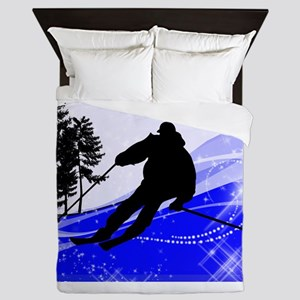 Downhill on the Ski Slope Edges Queen Duvet