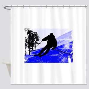 Downhill on the Ski Slope Edges Shower Curtain