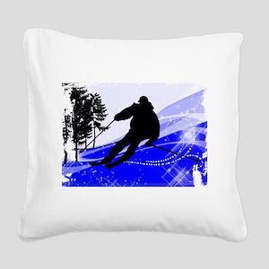 Downhill on the Ski Slope Edg Square Canvas Pillow