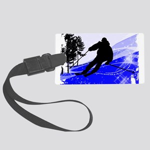 Downhill on the Ski Slope Edges. Large Luggage Tag