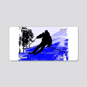 Downhill on the Ski Slope E Aluminum License Plate