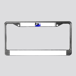 Downhill on the Ski Slope Edge License Plate Frame