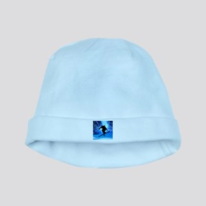 Winter Landscape and Freestyle Skier baby hat