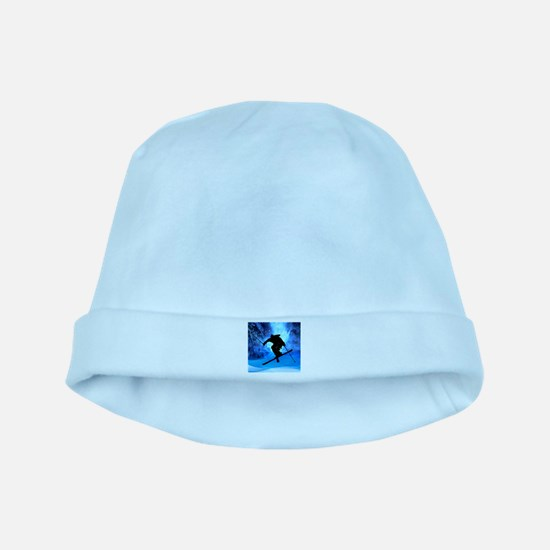 Winter Landscape and Freestyle Skier.png baby hat