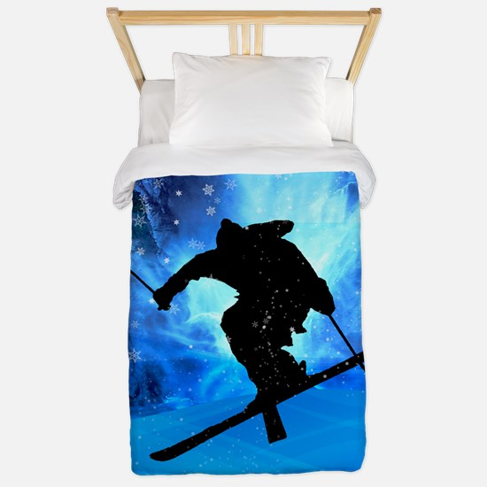 Winter Landscape and Freestyle Skier.pn Twin Duvet